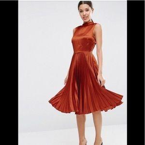 Asos sleeveless orange midi dress